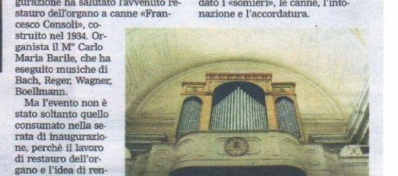 Torna a suonare l'organo F. Consoli di S.Rocco a Bari e Concerto